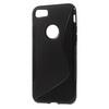 Szilikon védõ tok / hátlap - FEKETE - FÉNYES / MATT - APPLE iPhone 7 (4.7)