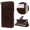 Notesz tok / flip tok - VIRÁG / LEPKE MINTÁS - BARNA - asztali tartó funkciós, oldalra nyíló, rejtett mágneses záródás, szilikon belsõ, bankkártyatartó, csuklópánt - HUAWEI P9 Lite / HUAWEI G9 lite