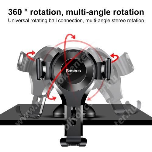 BASEUS Suction Cup Gravity univerzális autós / gépkocsi tartó - FEKETE - tapadókorongos, szélvédőre vagy műszerfalra rögzíthető, 63-88 mm-ig állítható bölcső - GYÁRI