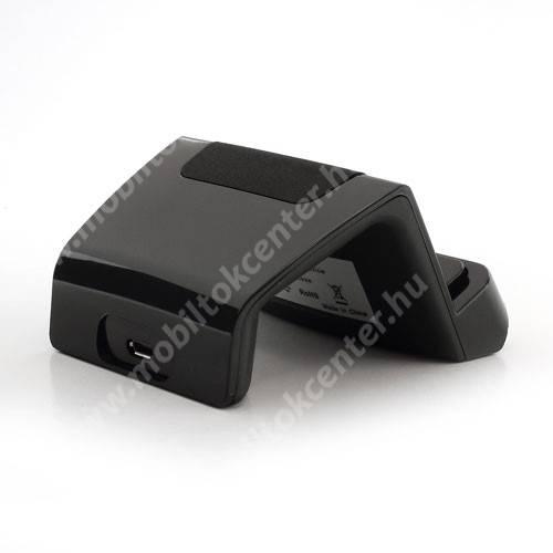 Asztali töltő és adatátviteli állvány - microUSB, 97cm-es töltőkábellel - FEKETE