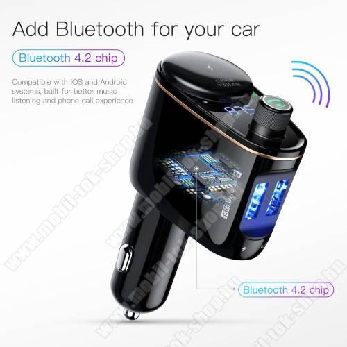 BASEUS S-06 BLUETOOTH kihangosító szett - szivartöltőbe tehető, FM transmitterrel csatlakozik autórádióra, EXTRA USB töltő aljzatok (max. 3.4A), v4.2, 12V-24V-ról is hazsnálható - FEKETE