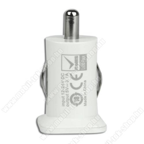 Szivargyújtós töltő / autós töltő - 2db USB aljzat, max 5V/3.1A (1x 2.1A / 1x 1A) - FEHÉR