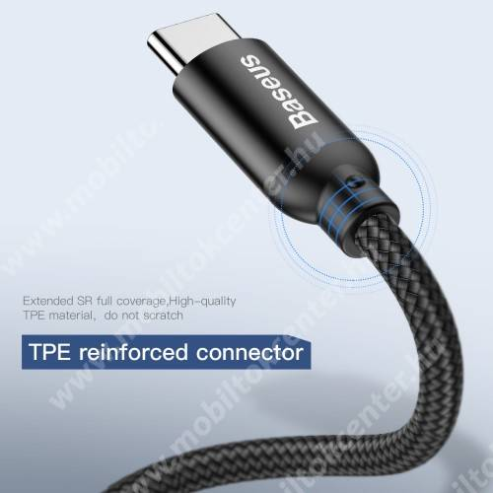 BASEUS U-shape adatátvitel adatkábel / USB töltő - USB / microUSB + Type-C adapter, 3 az 1-ben, 2,4A, 23cm - FEKETE - GYÁRI