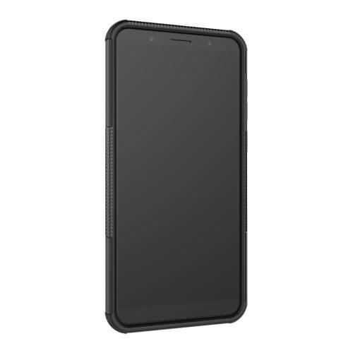 OTT! VROOM műanyag védő tok / hátlap - FEKETE - AUTÓGUMI MINTÁS - szilikon betétes, asztali tartó funkciós, ERŐS VÉDELEM! - ASUS Zenfone Max Pro (M1) (ZB601KL) / ASUS Zenfone Max Pro (M1) (ZB602KL)