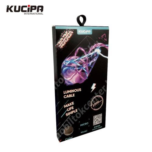 KUCIPA Luminous 2A adatátvitel adatkábel / USB töltő - USB / microUSB, 1m - sötétben világít - ZÖLD