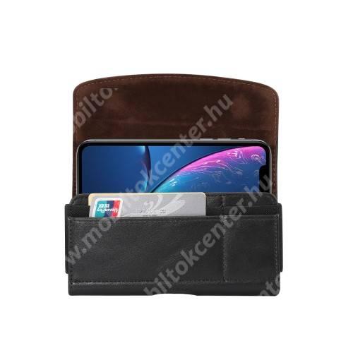 Fekvő tok - univerzális, mágneses, övre fűzhető, övcsipesz, gumis, bankkártyatartó zseb - 155 x 80 x 18mm - FEKETE