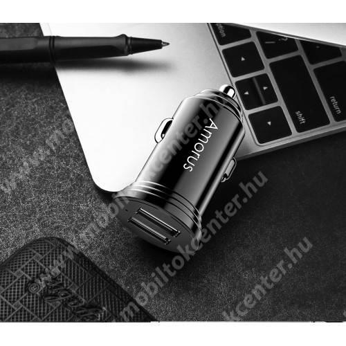 AMORUS CC-56 szivargyújtós töltő / autós töltő - 2 x USB aljzat, 5V / 3A, kábel NÉLKÜL! - FEKETE - GYÁRI
