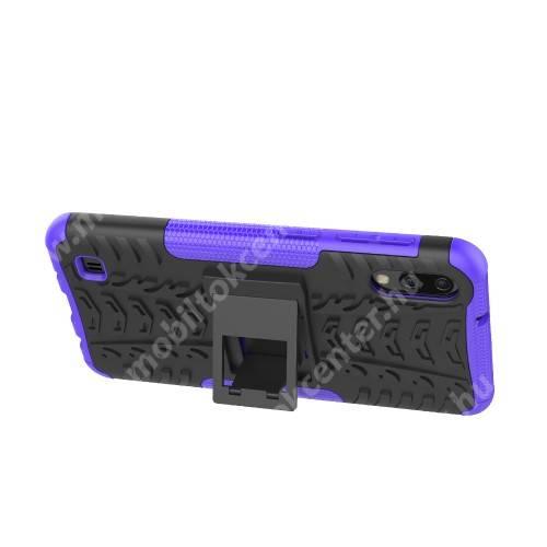 OTT! VROOM műanyag védő tok / hátlap - LILA - AUTÓGUMI MINTÁS - szilikon betétes, asztali tartó funkciós, ERŐS VÉDELEM! - SAMSUNG SM-M105F Galaxy M10