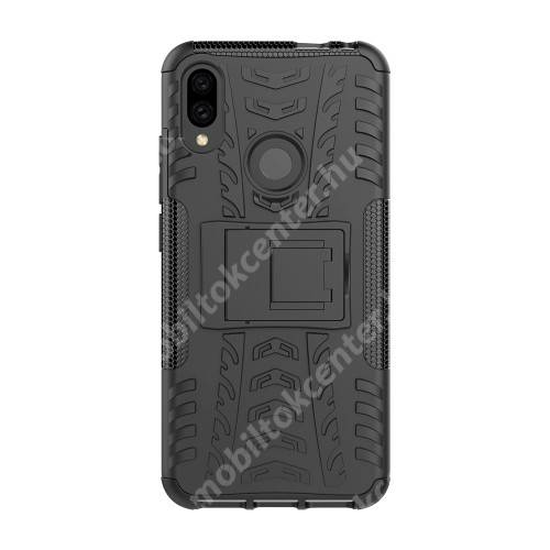 OTT! VROOM műanyag védő tok / hátlap - FEKETE - AUTÓGUMI MINTÁS - szilikon betétes, asztali tartó funkciós, ERŐS VÉDELEM! - Xiaomi Redmi Note 7 / Xiaomi Redmi Note 7 Pro / Xiaomi Redmi Note 7S