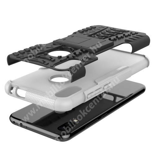 OTT! VROOM műanyag védő tok / hátlap - FEHÉR - AUTÓGUMI MINTÁS - szilikon betétes, asztali tartó funkciós, ERŐS VÉDELEM! - Xiaomi Redmi Note 7 / Xiaomi Redmi Note 7 Pro / Xiaomi Redmi Note 7S