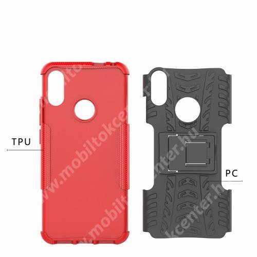 OTT! VROOM műanyag védő tok / hátlap - PIROS - AUTÓGUMI MINTÁS - szilikon betétes, asztali tartó funkciós, ERŐS VÉDELEM! - Xiaomi Redmi Note 7 / Xiaomi Redmi Note 7 Pro / Xiaomi Redmi Note 7S