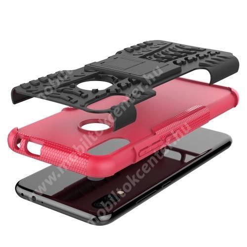 OTT! VROOM műanyag védő tok / hátlap - RÓZSASZÍN - AUTÓGUMI MINTÁS - szilikon betétes, asztali tartó funkciós, ERŐS VÉDELEM! - Xiaomi Redmi Note 7 / Xiaomi Redmi Note 7 Pro / Xiaomi Redmi Note 7S