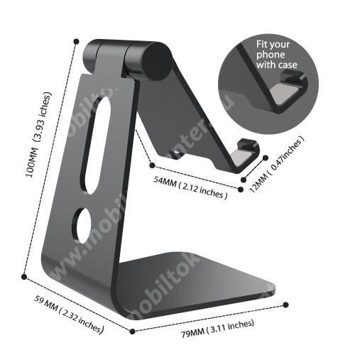 UNIVERZÁLIS alumínium asztali tartó / állvány - 270°-ban állítható, kábelvezető kivágás, 72 x 80 x 100 mm - FEKETE