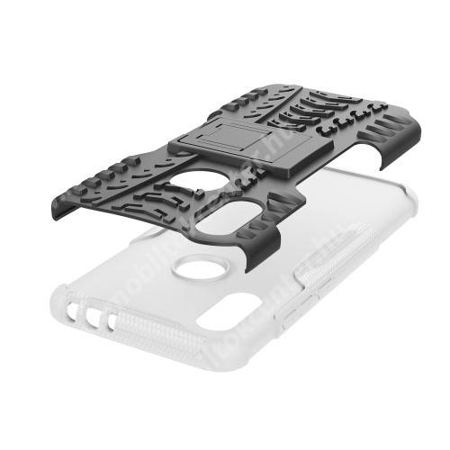 OTT! VROOM műanyag védő tok / hátlap - FEHÉR - AUTÓGUMI MINTÁS - szilikon betétes, asztali tartó funkciós, ERŐS VÉDELEM! - Xiaomi Redmi 7 / Xiaomi Redmi Y3