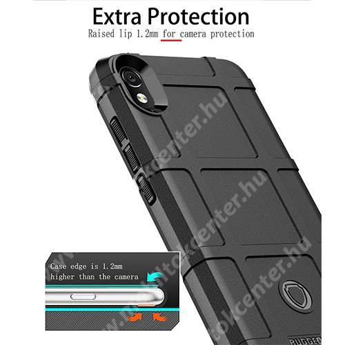 OTT! RUGGED SHIELD szilikon védő tok / hátlap - matt, ERŐS VÉDELEM - FEKETE - Xiaomi Redmi 7A