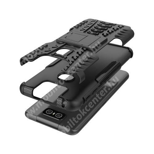 OTT! VROOM műanyag védő tok / hátlap - FEKETE - AUTÓGUMI MINTÁS - szilikon betétes, asztali tartó funkciós, ERŐS VÉDELEM! - ASUS Zenfone 6 (ZS630KL)