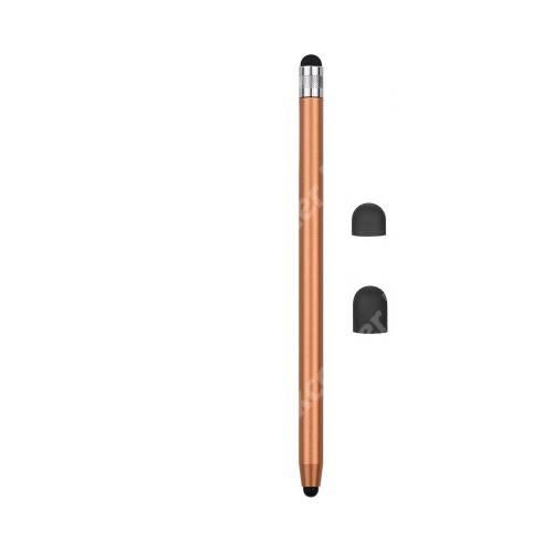 Érintőképernyő ceruza - kapacitív kijelzőhöz, 14,2cm hosszú, cserélhető tartalék érintőpárnákkal 1db 5mm-es és 1db 7mm-es - ARANY