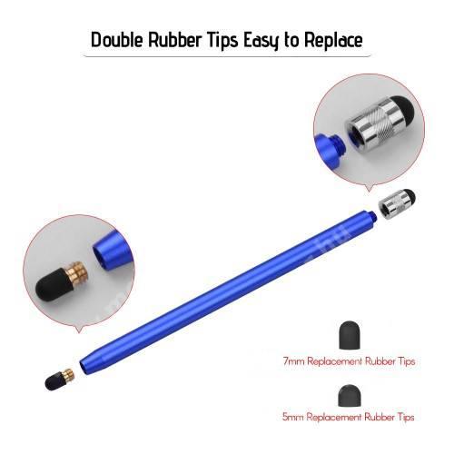 Érintőképernyő ceruza - kapacitív kijelzőhöz, 14,2cm hosszú, cserélhető tartalék érintőpárnákkal 1db 5mm-es és 1db 7mm-es - SÖTÉTKÉK