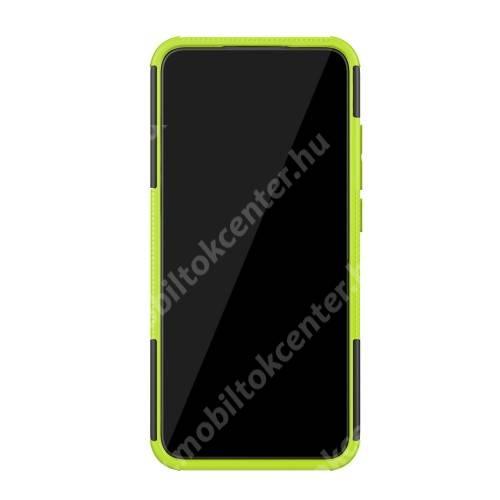 OTT! VROOM műanyag védő tok / hátlap - FEKETE / ZÖLD - AUTÓGUMI MINTÁS - szilikon betétes, asztali tartó funkciós, ERŐS VÉDELEM! - Xiaomi Mi CC9e / Xiaomi Mi A3