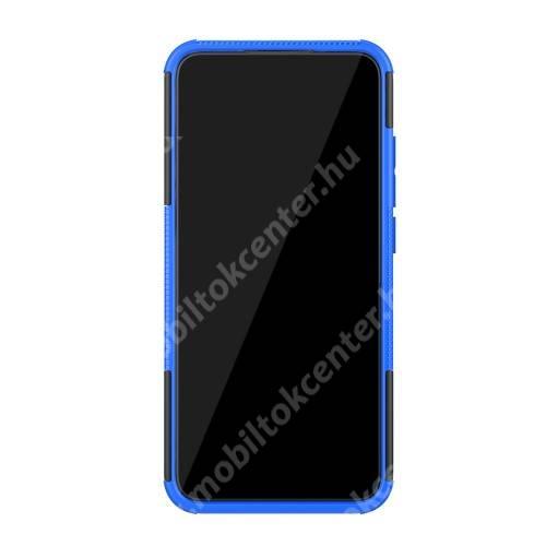 OTT! VROOM műanyag védő tok / hátlap - FEKETE / KÉK - AUTÓGUMI MINTÁS - szilikon betétes, asztali tartó funkciós, ERŐS VÉDELEM! - Xiaomi Mi CC9e / Xiaomi Mi A3