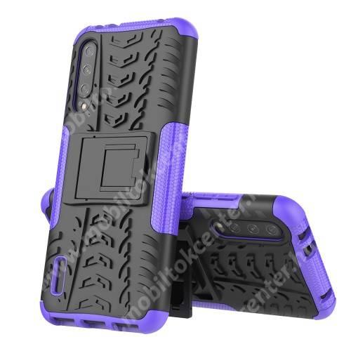 OTT! VROOM műanyag védő tok / hátlap - FEKETE / LILA - AUTÓGUMI MINTÁS - szilikon betétes, asztali tartó funkciós, ERŐS VÉDELEM! - Xiaomi Mi CC9e / Xiaomi Mi A3