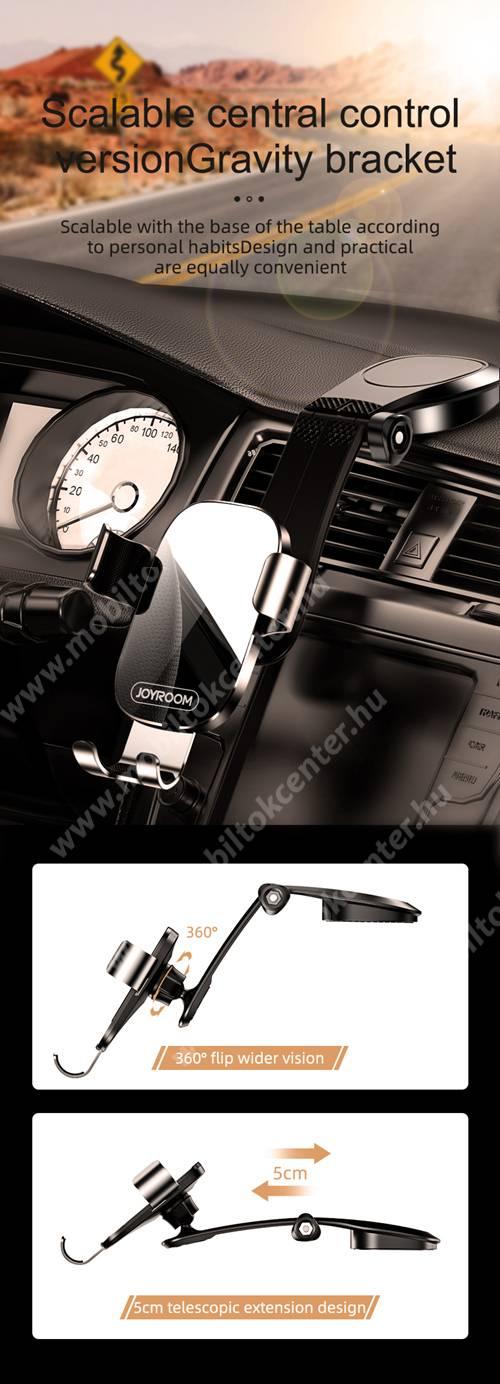 JOYROOM ZS198 Gravity univerzális autós / gépkocsi tartó - FEKETE - műszerfalra ragasztható, elforgatható, 4-7,2