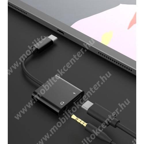 Audio adapter - Type C / 3,5mm Jack + Type C töltő aljzattal, gyorstöltés támogatás, max QC 9V/2A, 12,5cm hosszú - FEKETE