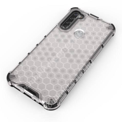 OTT! HONEYCOMB műanyag védő tok / hátlap - FEHÉR - szilikon belső, erősített sarkok, méhsejt mintás, ERŐS VÉDELEM! - Xiaomi Redmi Note 8T