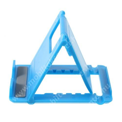 UNIVERZÁLIS asztali telefon tartó, állvány - 5 állítható szög, összecsukható - VILÁGOSKÉK