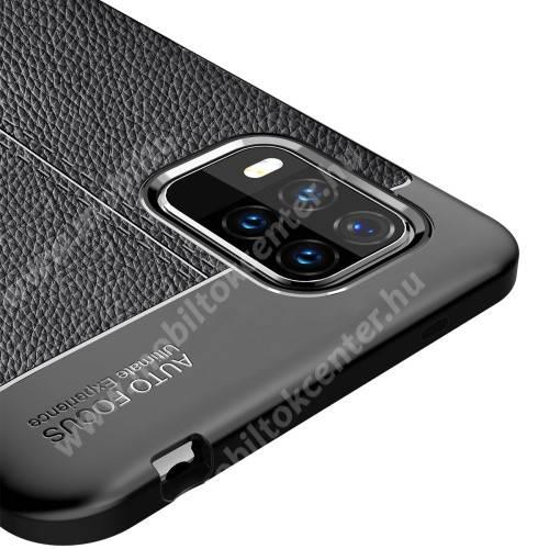 OTT! LEATHER SERIES szilikon védő tok / bőrhatású hátlap - FEKETE - ERŐS VÉDELEM! - Xiaomi Mi 10 Lite 5G