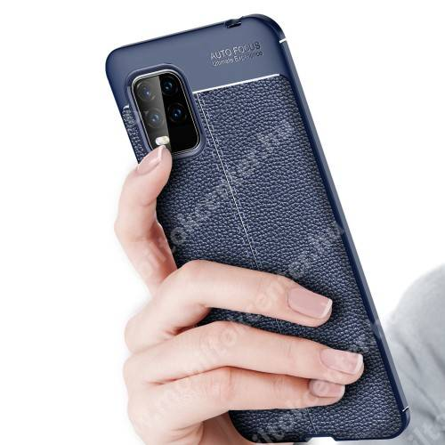 OTT! LEATHER SERIES szilikon védő tok / bőrhatású hátlap - SÖTÉTKÉK - ERŐS VÉDELEM! - Xiaomi Mi 10 Lite 5G