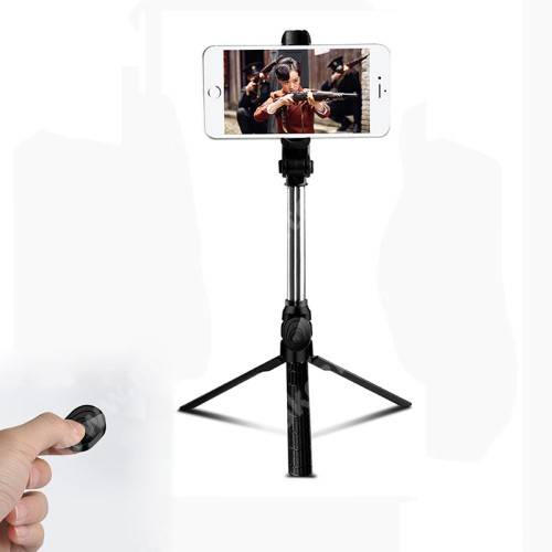 UNIVERZÁLIS teleszkópos selfie bot és tripod állvány - BLUETOOTH KIOLDÓVAL, 360 fokban forgatható, max 75cm hosszú nyél - FEKETE
