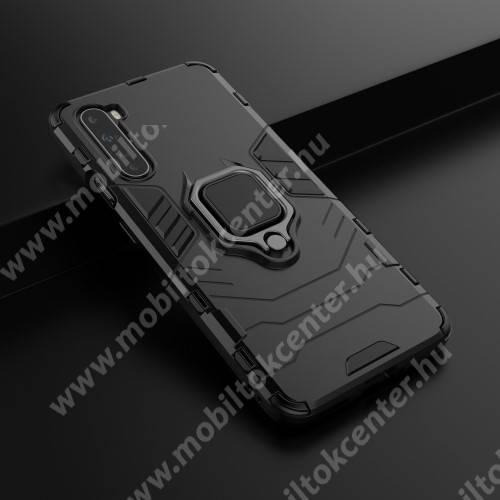 TRANSFORM PRO műanyag védő tok / hátlap - FEKETE - szilikon betétes, kitámasztható, fém ujjgyűrűvel, tapadófelület mágneses autós tartóhoz - ERŐS VÉDELEM! - OnePlus Nord