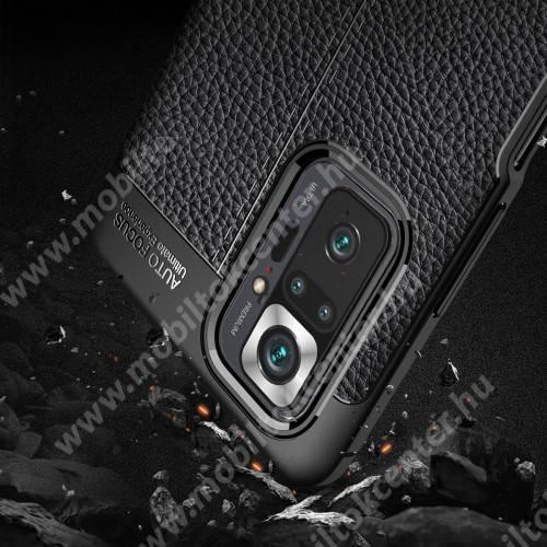 OTT! LEATHER SERIES szilikon védő tok / bőrhatású hátlap - SÖTÉTKÉK - ERŐS VÉDELEM! - Xiaomi Redmi Note 10 Pro / Redmi Note 10 Pro Max