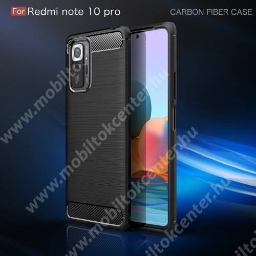 OTT! CARBON szilikon védő tok / hátlap - FEKETE - karbon mintás, ERŐS VÉDELEM! - Xiaomi Redmi Note 10 Pro / Redmi Note 10 Pro Max