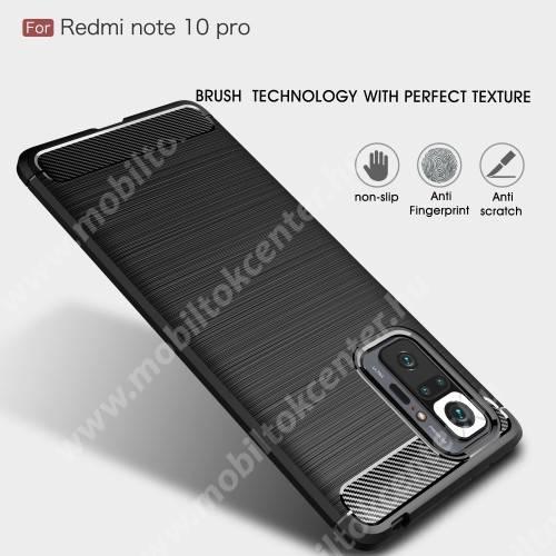 OTT! CARBON szilikon védő tok / hátlap - SÖTÉTKÉK - karbon mintás, ERŐS VÉDELEM! - Xiaomi Redmi Note 10 Pro / Redmi Note 10 Pro Max