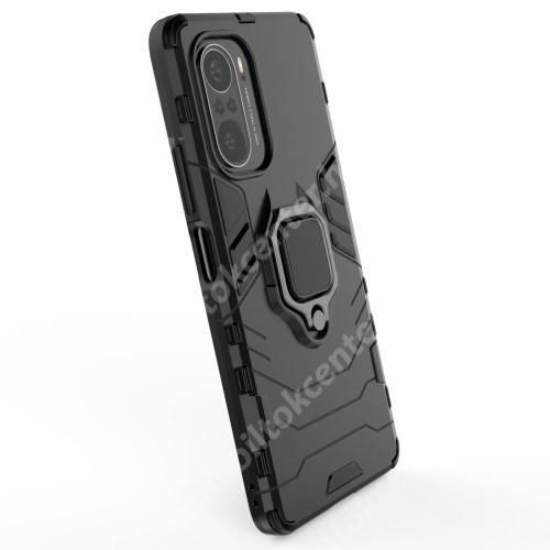 TRANSFORM PRO műanyag védő tok / hátlap - FEKETE - szilikon betétes, kitámasztható, fém ujjgyűrűvel, tapadófelület mágneses autós tartóhoz - ERŐS VÉDELEM! - Xiaomi Redmi K40 / Redmi K40 Pro / Redmi K40 Pro Plus / Mi 11i / Poco F3