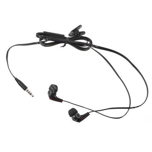 Langston JM-12 univerzális sztereo headset - 3,5mm jack csatlakozó, felvevő gombos - FEKETE