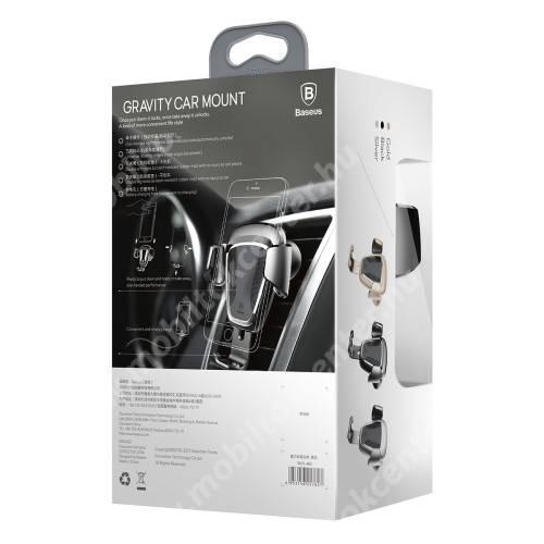 BASEUS Gravity univerzális autós / gépkocsi tartó - FEKETE - szellőzőrácsra rögzíthető, 63-88 mm-ig állítható bölcső - GYÁRI