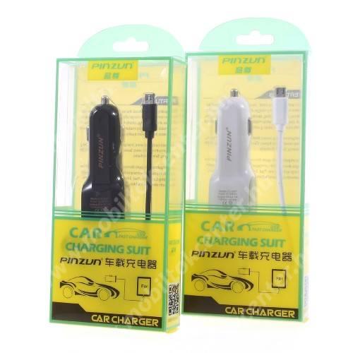 PINZUN szivargyújtós töltő / autós töltő - FEKETE - microUSB, gyors töltő, 5V/2.1A, EXTRA USB aljzat, microUSB - GYÁRI