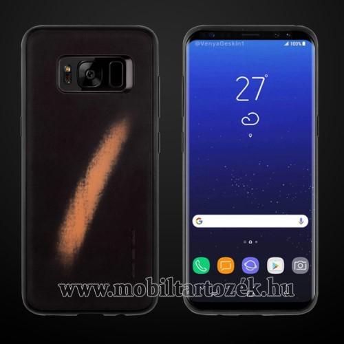Thermo szilikon védőtok / hátlap - Műanyag szegély,  a kéz melegétől változó színű - SAMSUNG SM-G955 Galaxy S8 Plus - FEKETE