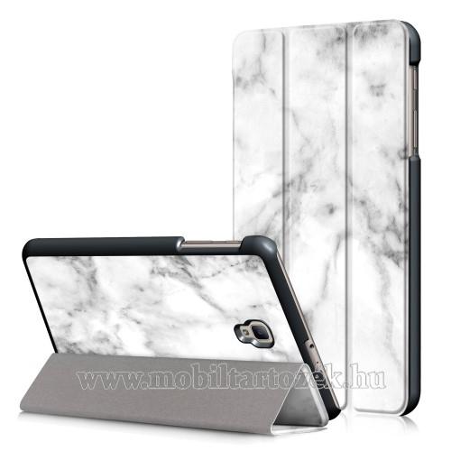 Notesz / mappa tok - oldalra nyíló flip cover, TRIFOLD asztali tartó funkció, mágneses záródás - MÁRVÁNY MINTÁS - SAMSUNG SM-T380 Galaxy Tab A 8.0 (2017) / SAMSUNG SM-T385 Galaxy Tab A 8.0 (2017) (4G/LTE)