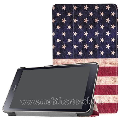Notesz / mappa tok - oldalra nyíló flip cover, TRIFOLD asztali tartó funkció, mágneses záródás - USA ZÁSZLÓ MINTÁS - SAMSUNG SM-T380 Galaxy Tab A 8.0 (2017) / SAMSUNG SM-T385 Galaxy Tab A 8.0 (2017) (4G/LTE)