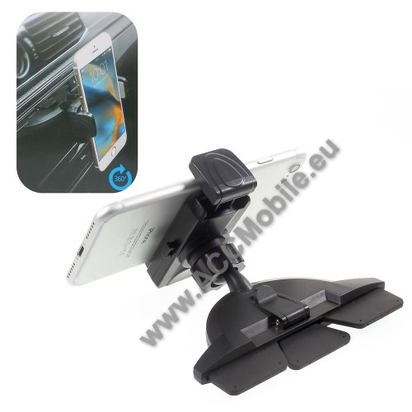 UNIVERZÁLIS autós / gépkocsi tartó - CD / DVD lejátszóba helyezhető, 55-85mm-ig állítható bölcsővel - FEKETE