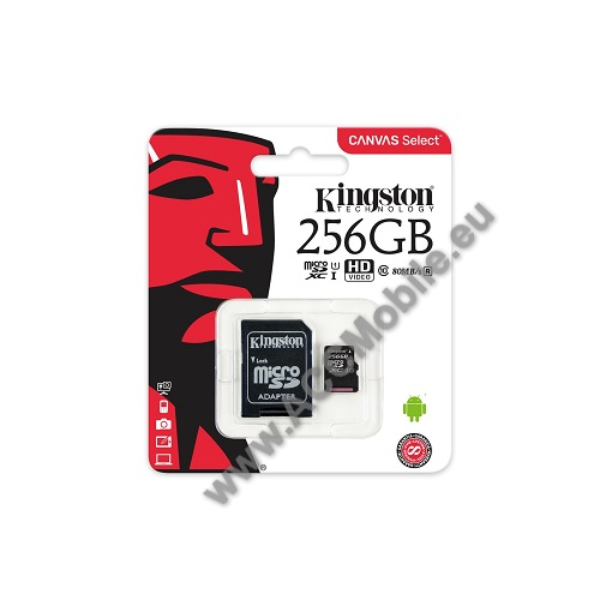 MEMÓRIA KÁRTYA KINGSTON CANVAS SELECT MICROSDXC 256GB (CLASS 10), UHS-I MEMÓRIAKÁRTYA ADAPTERREL (SDCS/256GB) - KINGSTON