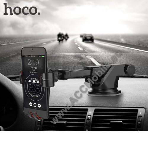 HUAWEI P8HOCO CA24 autós tartó / állvány - 360°-ban forgatható, 9,6-14cm-ig állítható teleszkópos kar, tapadókorongos - FEKETE - GYÁRI
