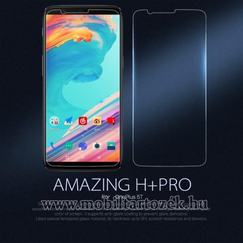 NILLKIN előlap védő karcálló edzett üveg, Amazing H+ PRO, 0,2mm, 9H, A képernyő sík részét védi - kameralencsevédő fóliával - OnePlus 5T - GYÁRI