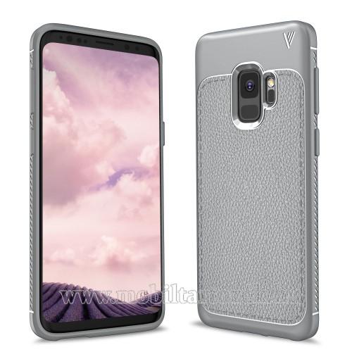 IVSO Gentry Series szilikon védő tok / bőrhatású hátlap - SZÜRKE - ERŐS VÉDELEM! - SAMSUNG SM-G960 Galaxy S9 - GYÁRI