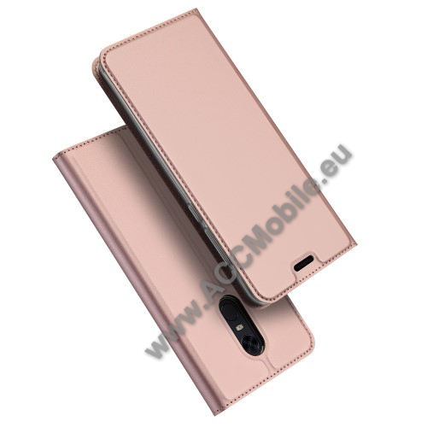 DUX DUCIS slim design notesz / mappa tok - ROSE GOLD - oldalra nyíló flip cover, asztali tartó funkció, szilikon belső - XIAOMI Redmi Note 5 / XIAOMI Redmi 5 Plus - GYÁRI