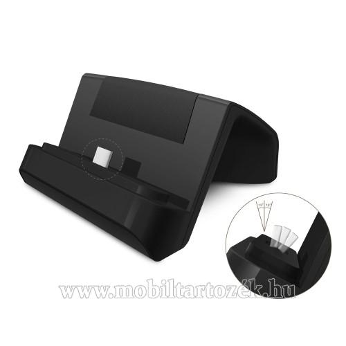 Asztali töltő / dokkoló - adatátviteli állvány, USB 3.1 Type C, 1m USB kábellel - FEKETE